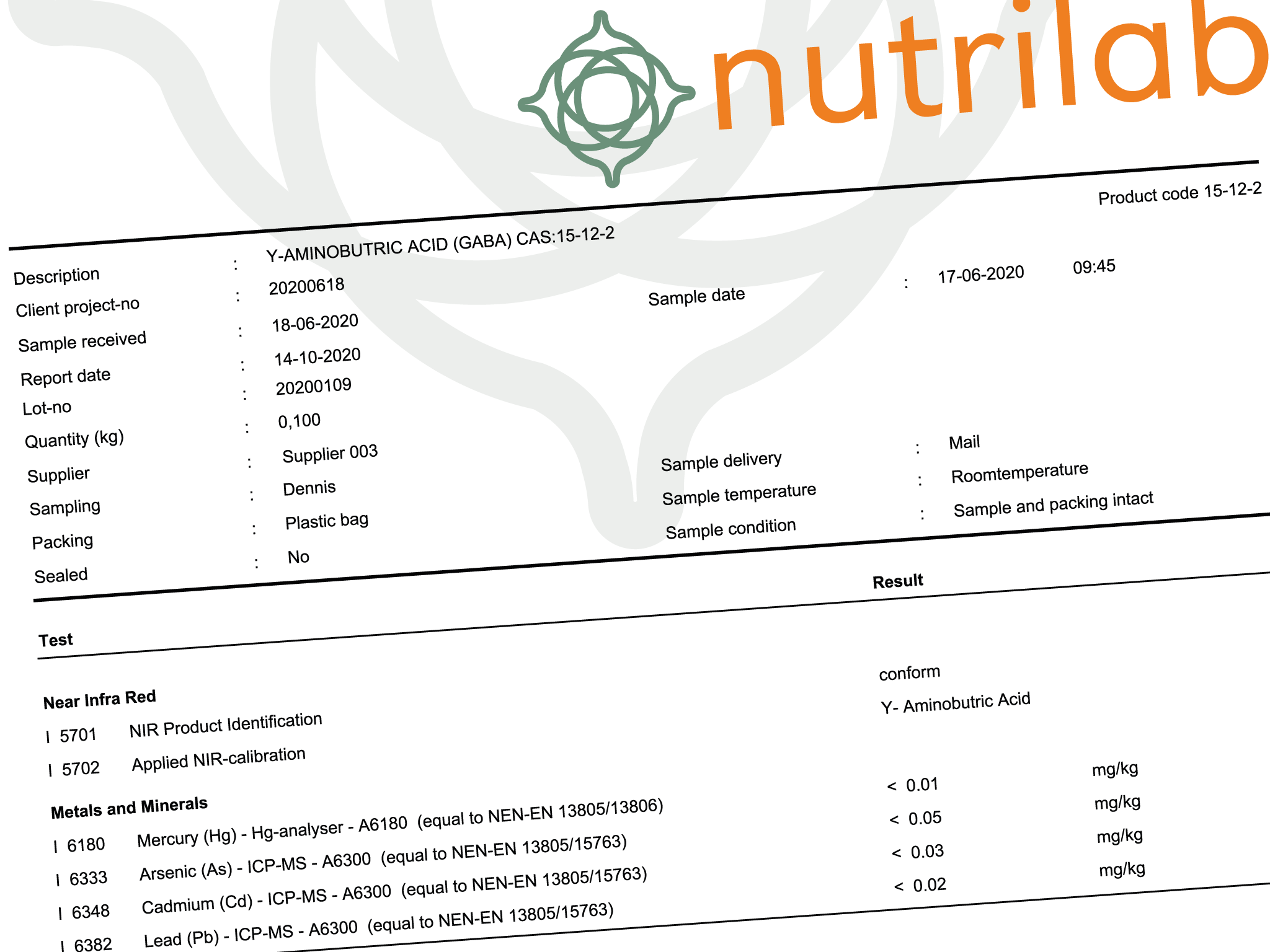 Voorbeeld Nutrilab Certificate of Analysis - Next Valley